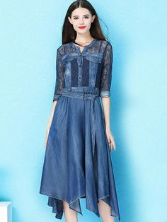 Shop Lace Splicing Denim Belted Asymmetric Slim Dress at EZPOPSY. Maxi Dress With Sleeves, Lace Dress, Denim Belt, Denim Skirt, Denim Patchwork, Chic Dress, Asymmetrical Dress, Denim Fashion, Designer Dresses