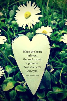 grief quote with a heart and daisies...When the heart grieves, the soul makes a promise. Love will never leave you.