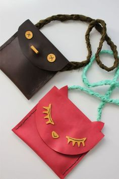 DIY leather pouches for kids via A Beautiful Mess