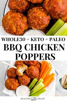 Crispy Chicken Poppers smothered in BBQ sauce and dipped in a homemade creamy ranch dressing. Whole30, Keto, Paleo and Dairy Free. A perfect appetizer.
