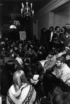 Student protest against fee increase in Cutler Hall, 1970.