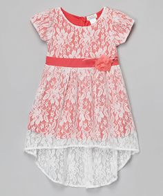 Look at this Coral Floral Pleated Chiffon A-Line Dress - Toddler & Girls on #zulily today!