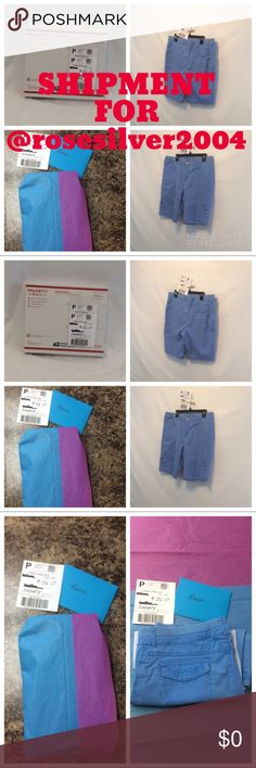 €€€SOLD€€€ SHIPMENT FOR @rosesilver2004 €€€SOLD€€€ SHIPMENT FOR @rosesilver2004 €€€ pictures of the condition of the Shorts as of 9/26/2017 wrapping and packing. Post Office received this box. I have confirmation email from PM confirming receipt. Shipping label says 2 days. Should receive no later than Thursday. When it arrives please login to your purchases to Accept. Thank you for shopping my closet! Have a wonderful and Blessed Poshing Day! Please keep in touch! Other
