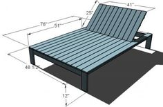 Build a Simple Modern Outdoor Double Lounger - Free and Easy DIY Project and Furniture Plans Outdoor Furniture Plans, Outside Furniture, Bar Furniture, Pallet Furniture, Furniture Projects, Pool Furniture Diy, Furniture Buyers, Woodworking Furniture, Rustic Furniture