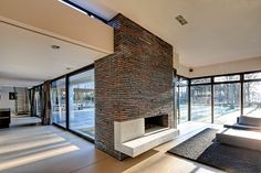 Glass, fireplace, and floors.