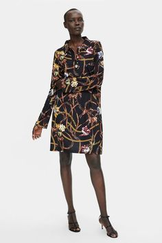 91c84e9130d Zara Chain Print Dress French Girl Style