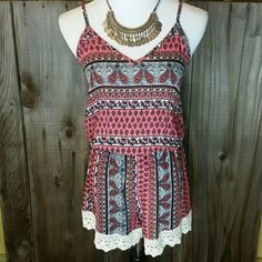 """Retail Crochet Trim Romper Brand New Retail Romper   ~ Made in the USA  ~ 33"""" long,  16"""" across the chest ~ Elastic waist Boutique  Shorts"""