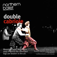 Time for #MondayMoves! A double cabriole - cabriole means caper and is an allegro step in which the extended legs are beaten in the air. Featuring Northern Ballet dancers Benjamin Mitchell (lifting) and Kevin Poeung (performing the double cabriole). Sequence taken from Northern Ballet's I Got Rhythm.