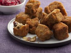 Second Day Fried Stuffing Bites with Cranberry Sauce Pesto recipe from Sunny Anderson via Food Network