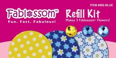 Create beautiful fabric flowers with Fablossom! Refill Kits in Blue are available! #Fablossom