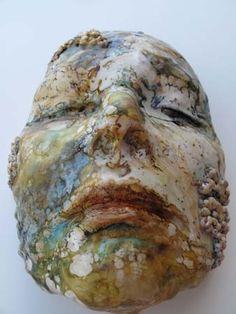 Lisa Renner - Self Portrait Plaster + encaustic Plaster Sculpture, Art Sculpture, Ceramic Mask, Wax Art, Statues, A Level Art, Street Art, Encaustic Painting, Art Moderne