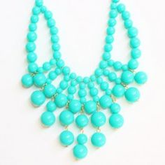 Cloudy Pool-blue Beaded Necklace.
