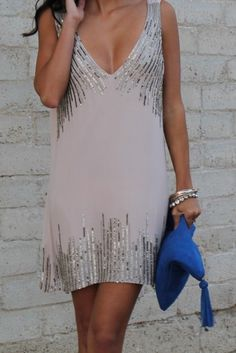 Dress: sequin dress, neutral, silver, sleeveless, short, cocktail dresses - Wheretoget