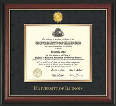 University of Illinois Diploma Frame : Hardwood moulding with 24k Gold-Plated medallion and school name embossing - Black Suede on Gold mat. Awesome graduation gift!
