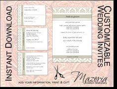 DIY Wedding Invite set TEMPLATE Instant Download printable (olive damask 5X7 with 3 cards)