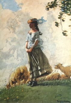 Winslow Homer (American: 1836-1910) - Fresh Air -  1848
