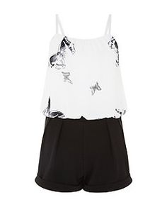 Cameo Rose Black Contrast Butterfly Print Playsuit  | New Look