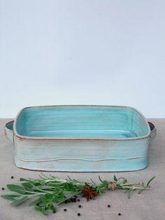 große Backform Keramik Auflaufform Türkis Backform von FreshPottery