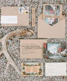 Travel-themed wedding stationery.