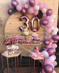 30th Birthday Themes, 30th Birthday Ideas For Women, Birthday Balloon Decorations, Happy 30th Birthday, Birthday Woman, Decoration Ideas For Birthday, Ideas For Birthday Party, 14th Birthday Cakes, Elegant Birthday Party