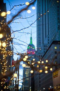 Christmas New York City lights Empire State Building