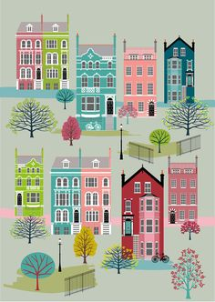 London Houses in Spring Art Print by natalieasingh on Etsy