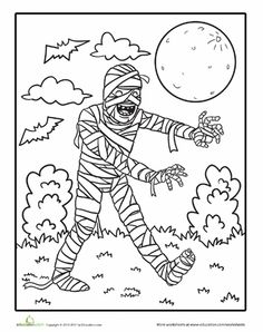 Worksheets: Color the Walking Mummy