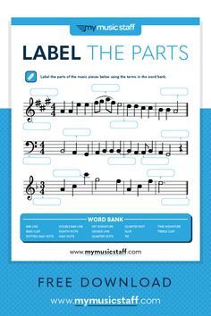 Label the Music - Free Music Activity Sheet from My Music Staff Music Theory Lessons, Music Theory Worksheets, Piano Lessons, Online Music Lessons, Music Activities, Movement Activities, Music Games, Music Classroom, Music Teachers