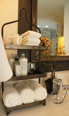 Guest bathroom display..really like the semi rustic look!
