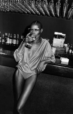 Grace Jones at Studio 54 photographed by Adrian Boot - ca. 1981