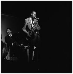 Hank Mobley (Philly Joe Jones is in the background). Photo by Laird Scott.