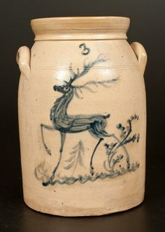 Sold $2,750 Three-Gallon Stoneware Jar with Artistic Cobalt Trotting Deer Decoration, attributed to the Lehman or Macquoid Pottery, New York, New York, ...