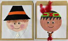 So cute! Pilgrim and Indian Thanksgiving Treat Bags | AllFreeKidsCrafts.com