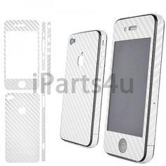 iPhone 4 und 4S Carbon Skin Weiß iPad Zubehör, iPhone Zubehör und iPod Zubehör || Gut und Billig