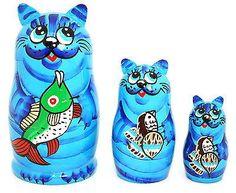 Russian Hand Painted Blue Cats Nesting Dolls Set of 3 Matryoshka