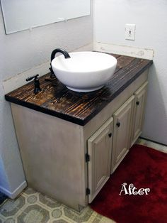 We've been working really hard on getting the Master Bathroom back in working order and I wanted to let you see the pro. Master Bathroom Vanity, Bathroom Vanity Makeover, Bathroom Red, Large Bathrooms, Bathroom Colors, Bathroom Styling, Bathroom Faucets, Modern Bathroom, Small Bathroom