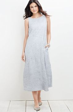 7ac69b7adf25 mixed-stripes linen dress Funky Outfits