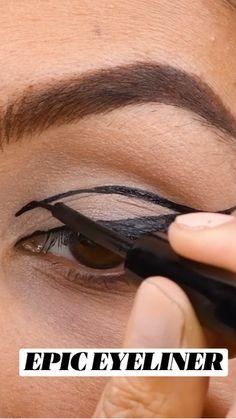 Edgy Makeup, Eye Makeup Art, Blue Eye Makeup, Skin Makeup, Eyeliner Makeup, Glasses Eye Makeup, Eyeliner Flick, Makeup Brushes, Makeup Videos