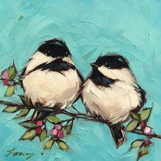 "6x6"" oil on panel. #chickadee #chickadees #birdart #birds #brushstrokes #colorful #nature #birdlover #laveryart #birding #birdsofinstagram #art #audubon #whimsical #spring #laveryart #etsy #colorfulart"