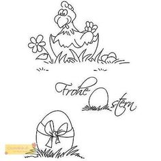 Efco FROHE OSTERN Stempel SET, clear stamp, A7 / 74 x 105 mm,3 - teilig