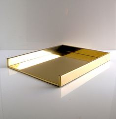 brass desk letter tray - 1970s/1980s gold Gucci style corporate chic - Wall Street desk top glam - 1970s designer desk accessory. $32.00, via Etsy.