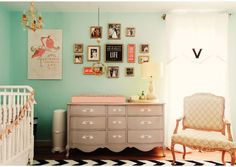 love color of drawers. Cute baby room!