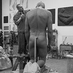 "Sculptor Ivan KORZHEV at work. A model of the sculpture ""Kneeling"". Скульптор Иван КОРЖЕВ за работой. Макет скульптуры ""Коленопреклоненный""."