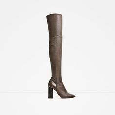 Image 2 of OVER-THE-KNEE HIGH HEEL LEATHER BOOTS from Zara
