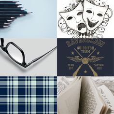 Aesthetic Collage, boy, blue, ravenclaw, theatre, books, glasses
