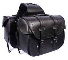 SD48 Black Cruiser Motorcycle Bikers Panniers Highway PU Leather Saddle BAG NEW | eBay