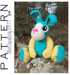 Crochet Pattern - Buster the Bunny ~ Crocheted with materials listed, models which have been produced are approximately 10 inches tall (standing)/ 6 inches tall (seated) - not including the ears. However, depending on your crochet style, this measurement may/will vary. Gauge is NOT critical in the completion of this project. ~