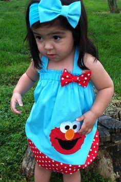 New Summer Elmo Halter style dress Sewing Baby Clothes, Diy Clothes, Elmo Party, Party Party, Party Ideas, Party On Garth, Elmo Birthday, Birthday Parties, Sesame Street Party