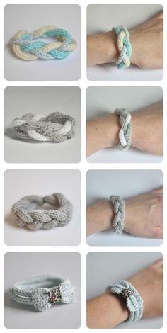 décembre 2011 Bracelets au tricotin - www. Knitting Projects, Crochet Projects, Knitting Patterns, Crochet Patterns, Bracelet Crochet, Spool Knitting, Knitting Machine, Crochet Diy, Finger Knitting