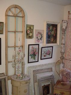vintage rose lithographs, ornate gesso frames, old windows...love #rubylane #Lithographs